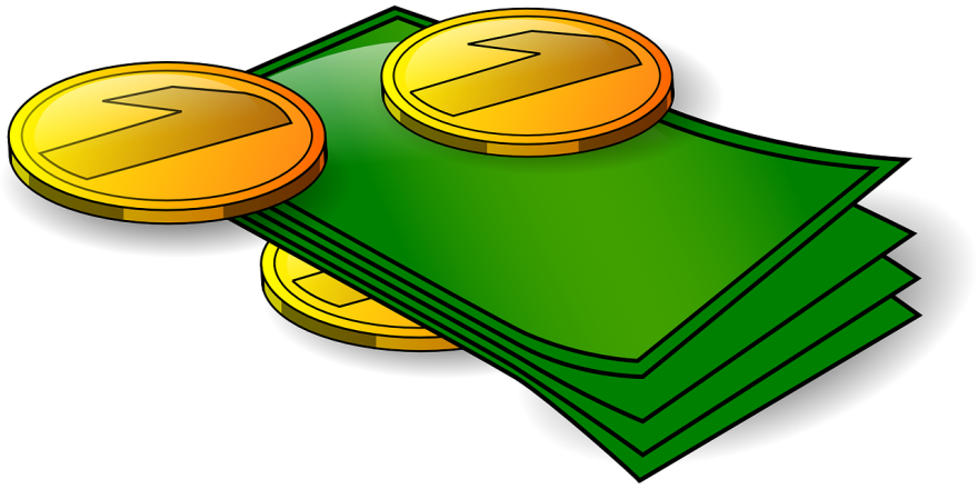 drawing of cash and coins