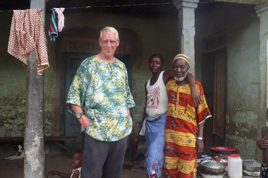Chris Siegler with Pa Njai (far right) in Kalangba, Sierra Leone, in 2011. As a Peace Corps volunteer, Siegler met Njai back in 1969.