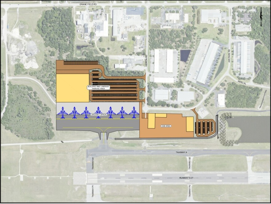 Map showing proposed layout of new Amazon cargo operation at Lakeland Linder International Airport.