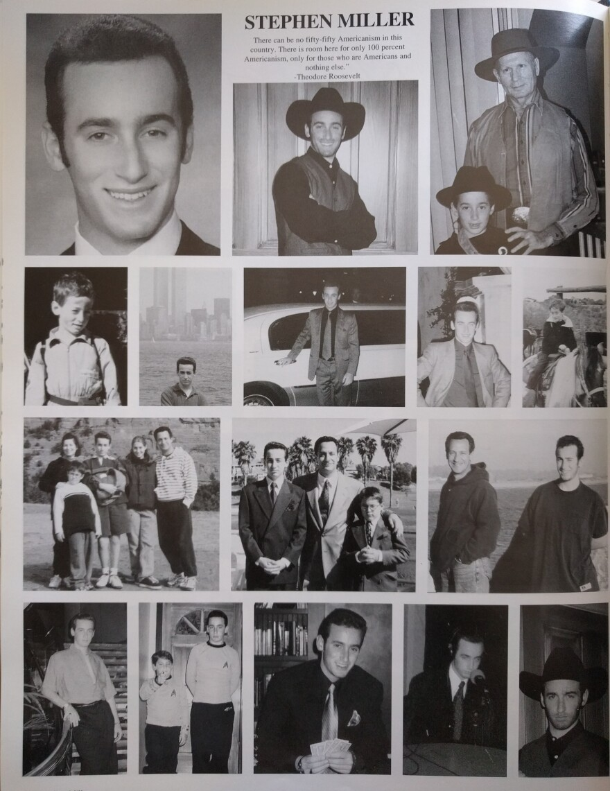 """A page from Stephen Miller's high school yearbook features a quote from President Theodore Roosevelt: """"There can be no fifty-fifty Americanism in this country. There is room here for only 100 percent Americanism, only for those who are Americans and nothing else."""""""