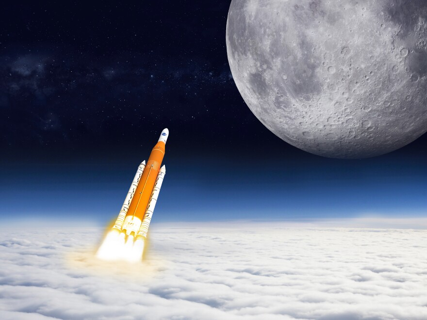 An artist's rendering of NASA's Space Launch System. NASA's plans to return people to the moon by 2024 include launching a craft with this system.