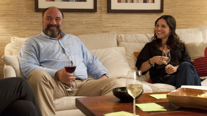 James Gandolfini plays a divorced TV archivist who falls in love with a divorced masseuse, played by Julia-Louis Dreyfus, in Nicole Holofcener'€™s <em>Enough Said.</em>