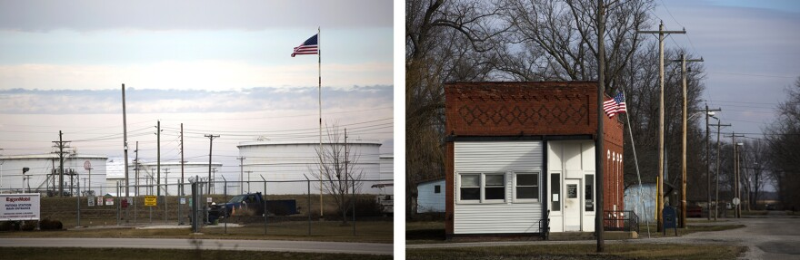 Left: The entrance to an Exxon Mobil facility along Highway 51. Right: The Vernon Post office at 200 Race Street.  (Jan. 24, 2017)