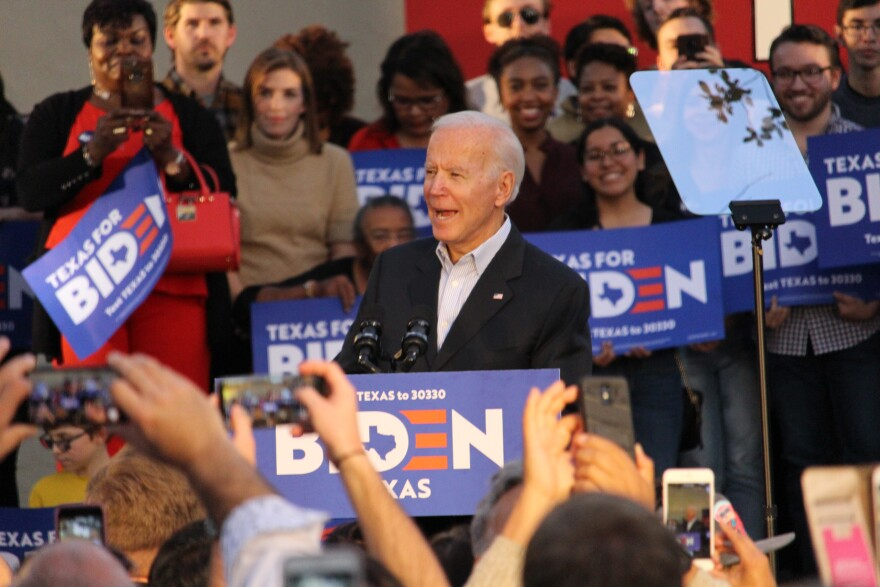 Former Vice President Joe Biden speaks to supporters who packed Juarez Plaza at La Villita in downtown San Antonio.
