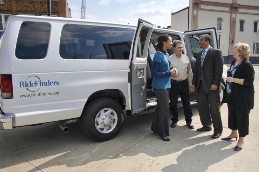 One of RideFinders' 15-passenger vans