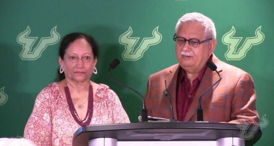 The university announced local philanthropists Jugal and Manju Taneja have donated $10 million to the school, which will now be known as the USF Health Taneja College of Pharmacy.