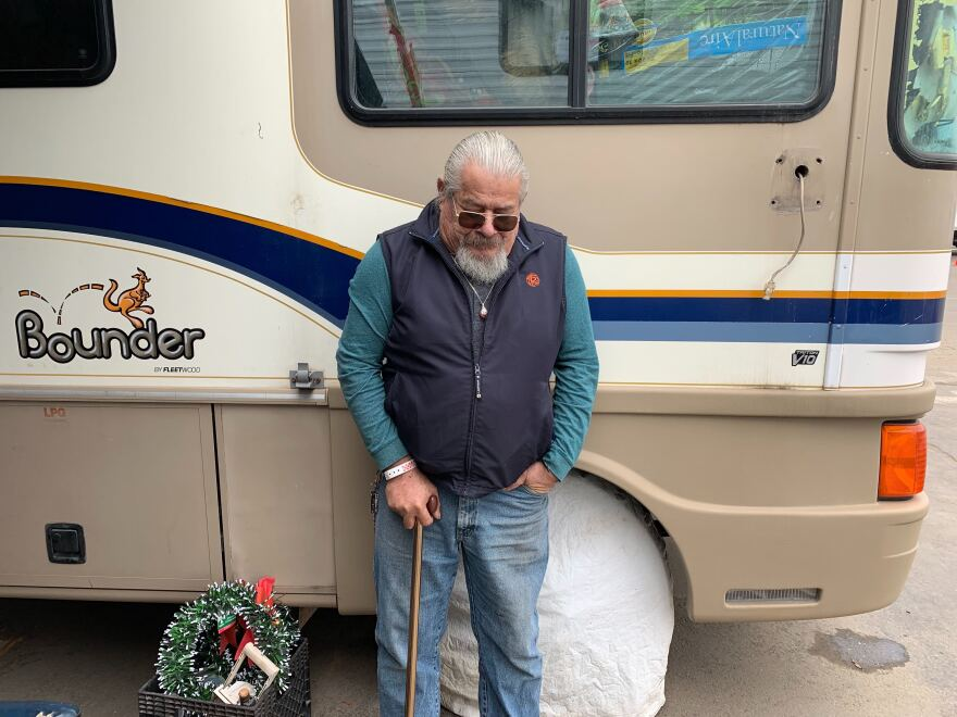 Nicholas Soto, who has chronic health issues including diabetes, has been living outside a Red Cross shelter at the fairgrounds in Chico, Calif. since early December.