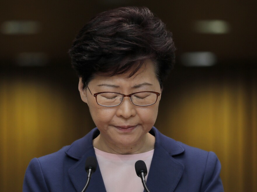 Hong Kong Chief Executive Carrie Lam said Tuesday the effort to amend an extradition bill was dead, but it wasn't clear if the legislation was being withdrawn as protesters have demanded.
