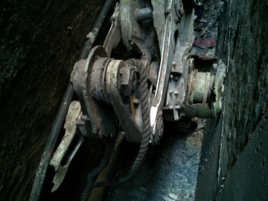 A piece of commercial landing gear was found between two buildings in lower Manhattan.