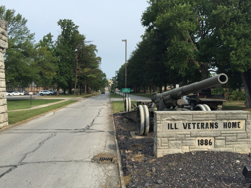 Front entrance to the Illinois Veterans' Home-Quincy. Seven have died in an outbreak of Legionnaires' disease.