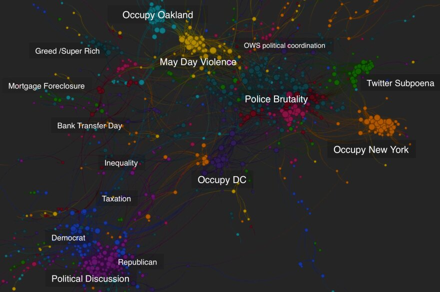 """<a href=""""http://quid.com/"""">Quid</a>'s algorithm mapping software allows users to visualize the proliferation of ideas on the Internet. This representation of articles written about the Occupy Wall Street movement uses colors to group ideas together and lines to show a connection between articles."""