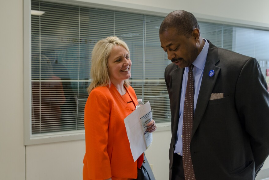 Missouri Education Commissioner Margie Vandeven speaks with St. Louis Superintendent Kelvin Adams April 15, 2019, during a tour of Clyde C. Miller Career Academy ahead of a state school board meeting to return St. Louis Public Schools to local control.
