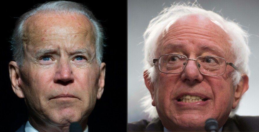 Former Vice President Joe Biden (left) and Sen. Bernie Sanders of Vermont are putting forward very different visions in the Democratic presidential primary.
