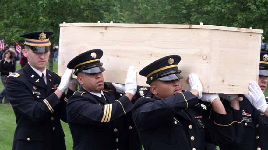 Pallbearers carry the coffin of an unknown soldier killed in the Civil War battle of Antietam during his burial ceremony at Saratoga National Cemetery in New York on Thursday.