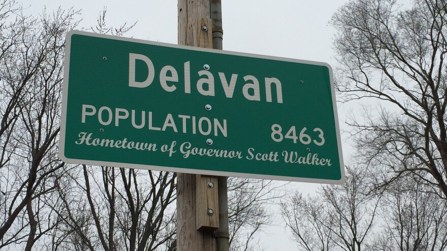 """Walker's backers look forward to updating this sign to """"Hometown of President Scott Walker."""""""