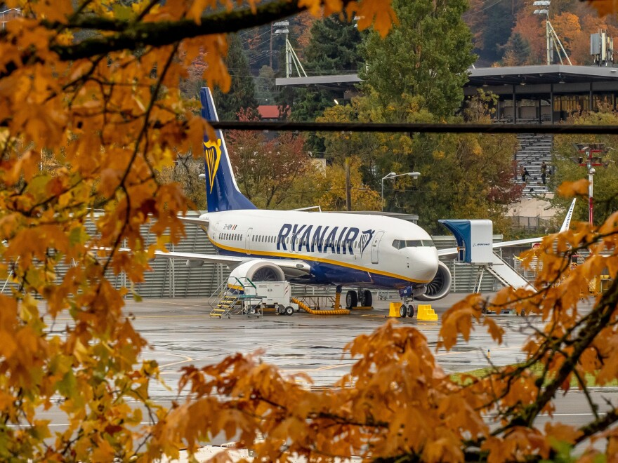 """A Boeing 737 MAX aircraft owned by Ryanair parked at Boeing's Renton, Washington factory in October. All 737 Max planes remain officially """"grounded"""" worldwide."""