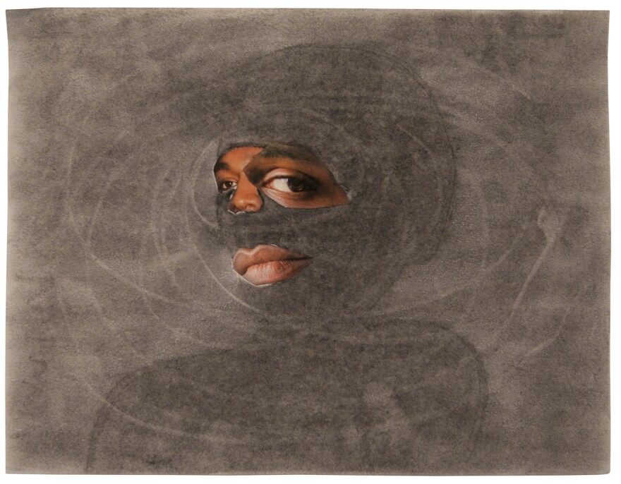 Tameca Cole, <em>Locked in a Dark Calm</em>, 2016. Collage and graphite on paper. 8 1/2 x 11 inches.