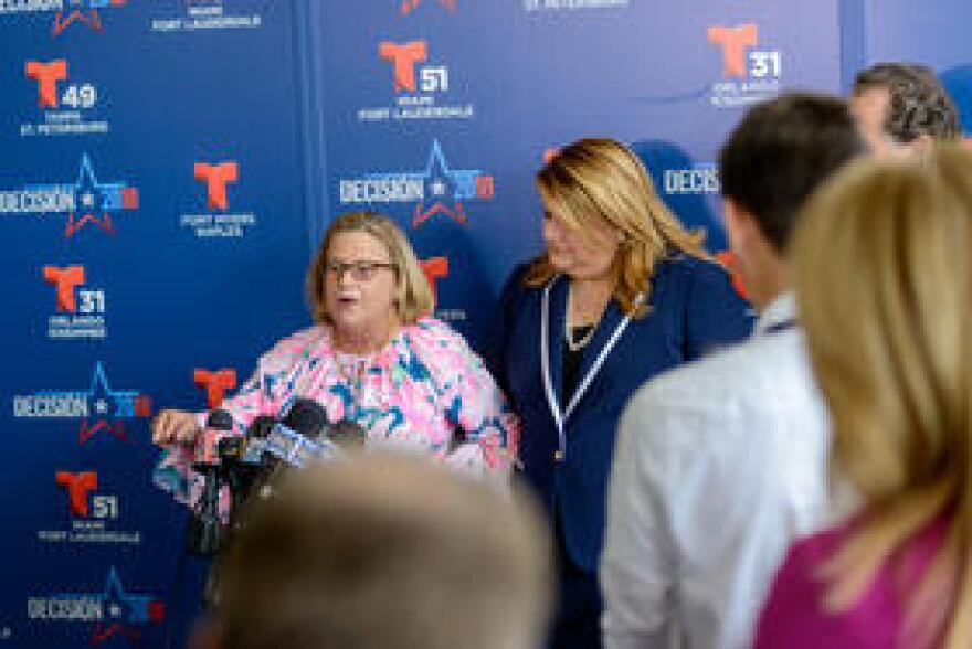 Congresswoman Ileana Ros-Lehtinen speaks in support of Governor Rick Scott after his debate with Senator Bill Nelson
