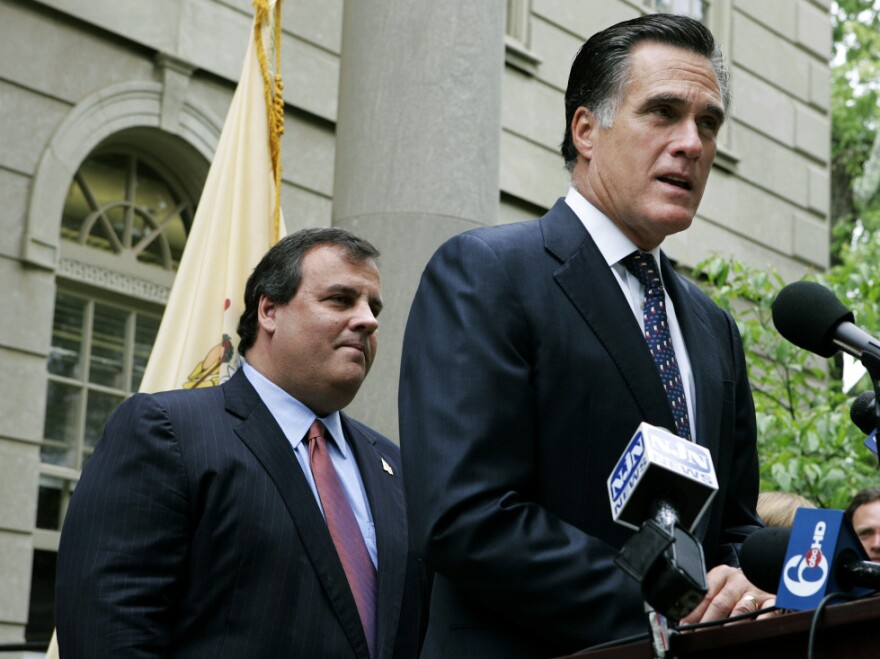 <p>Then-New Jersey gubernatorial candidate Chris Christie listens as Mitt Romney endorses him in the GOP primary, May 28, 2009.</p>