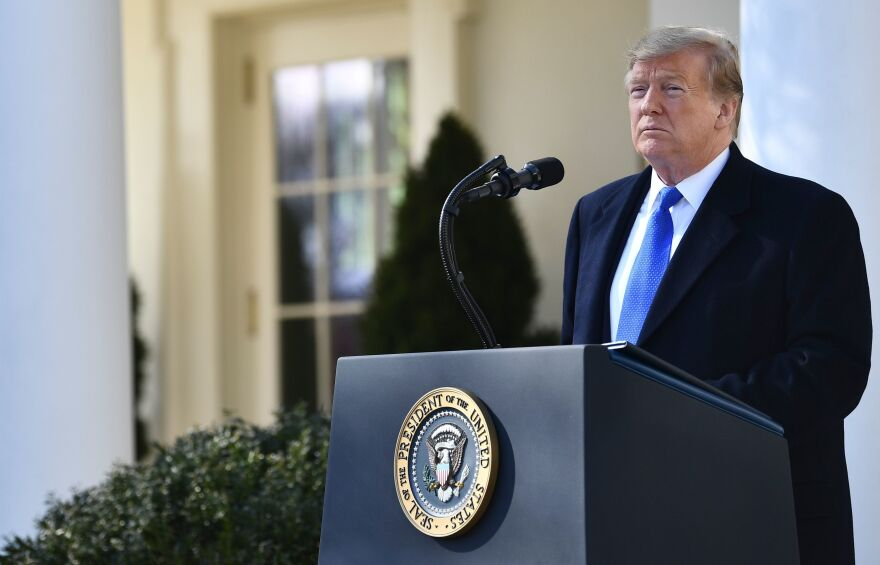 President Trump delivers remarks about border security in the Rose Garden at the White House on Friday.