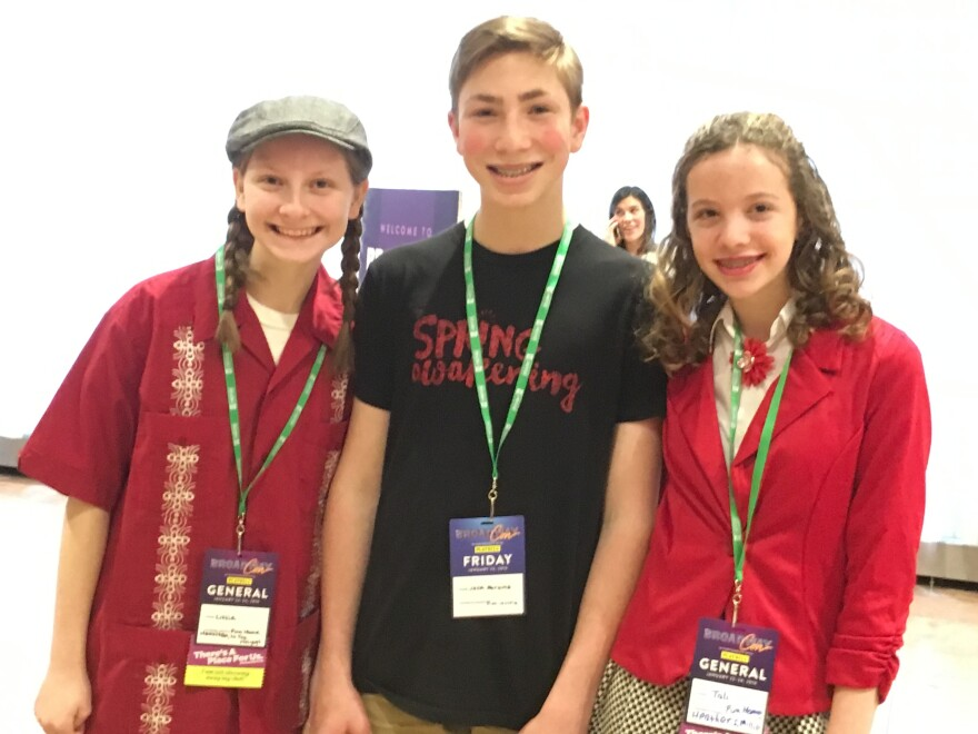 Broadway fans Lizzie Mathias, 14, Jack Abrams, 13, and Tali Natter, 14, came to BroadwayCon together after meeting on Instagram.
