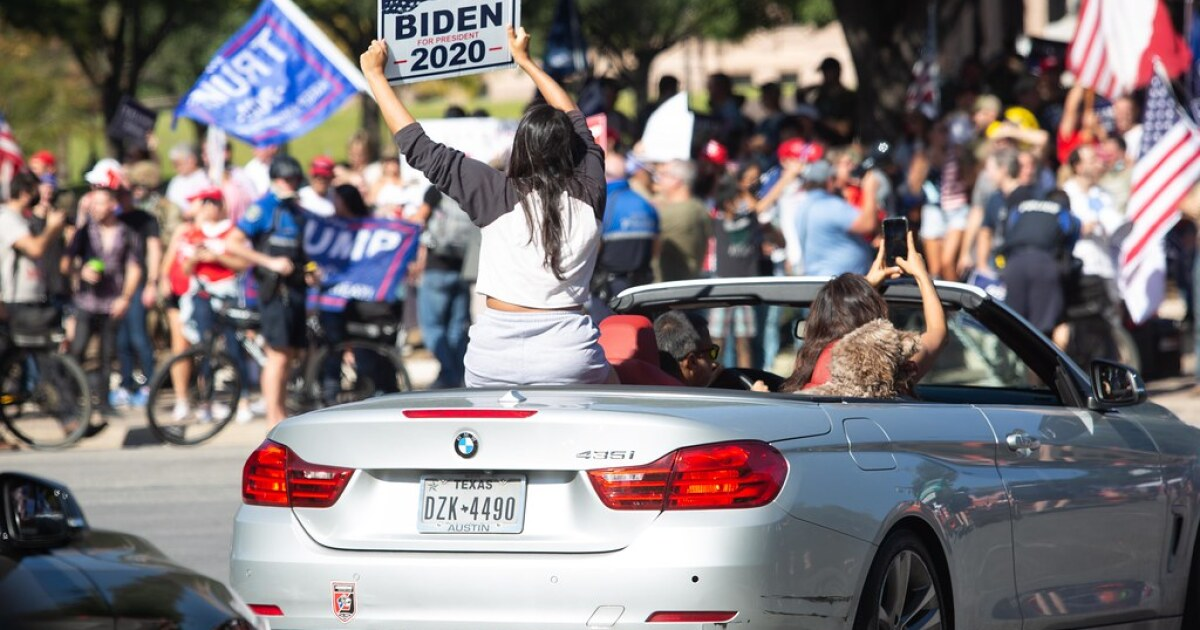 Crowds Gather In Austin To Celebrate Biden's Presidential Victory, While Trump Supporters Protest