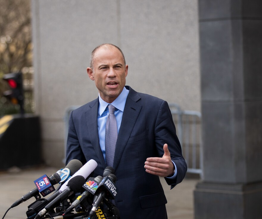 Michael Avenatti, attorney for Stormy Daniels, speaks to reporters following a court proceeding at the United States District Court for the Southern District of New York, on April 13, 2018 in New York City.