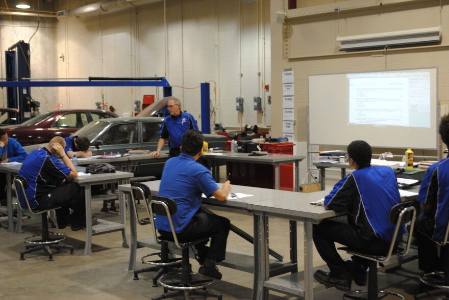 Javier is a star student in Rick Seither's automotive class at David H. Ponitz Career Technology Center. But he's not sure whether he can go on to college.  latino