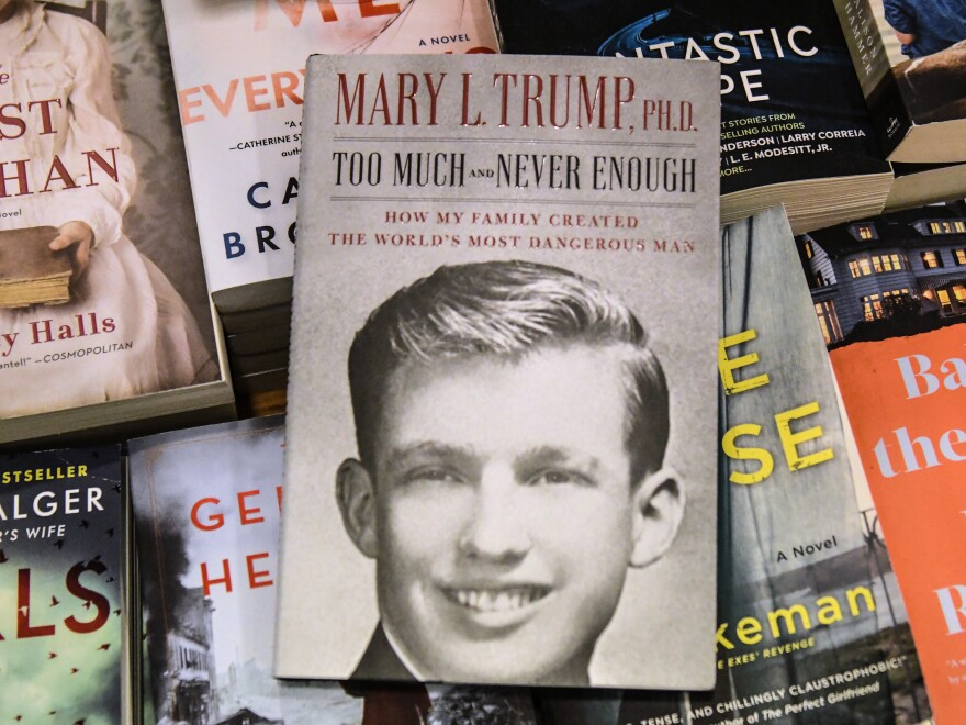A display of Mary Trump's new book about her uncle, President  Trump.