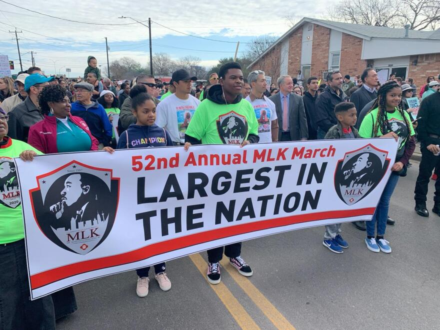 San Antonians participate in the 52nd annual Martin Luther King Jr. March in January 2020. The in-person march has been canceled for 2021 due to COVID-19 concerns.