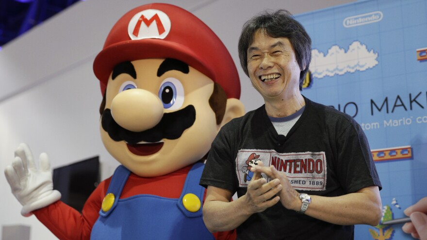 Video game designer Shigeru Miyamoto introduces Nintendo's <em>Super Mario Maker</em> at the Electronic Entertainment Expo in Los Angeles in 2014.