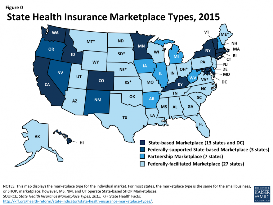 Infographic via Kaiser Health News/Kaiser Family Foundation shows what type of insurance exchange is used by each state.