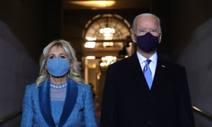 President Joe Biden and Jill Biden arrive at his Biden's inauguration on the West Front of the U.S. Capitol on Jan. 20, 2021 in Washington, D.C. (Win McNamee/Getty Images)