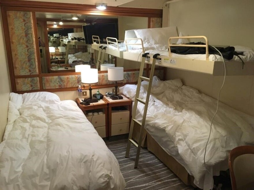 A cabin of the cruise ship Diamond Princess, where passengers are being quarantined due to coronavirus fears, is seen in Yokohama, Japan, earlier this week.