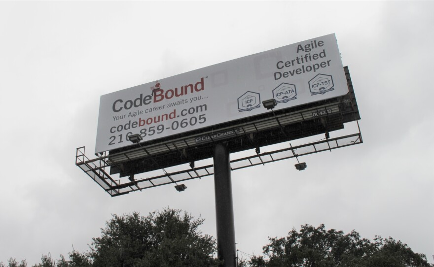A billboard advertising Codebound found at I-10 and Callaghan Street.
