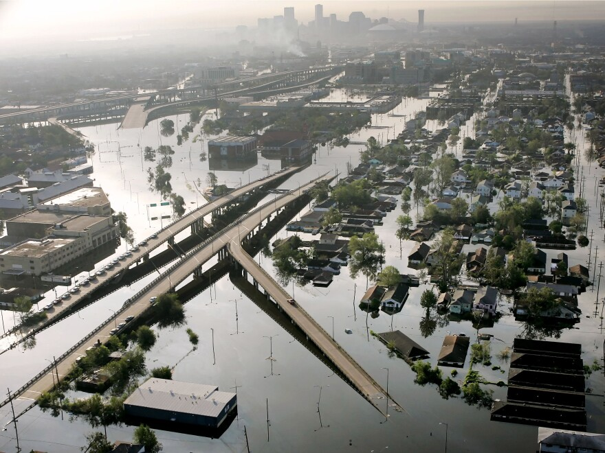 A photo taken on Aug. 30, 2005 shows floodwaters from Hurricane Katrina filling the streets near downtown New Orleans.