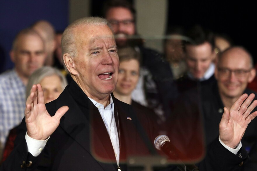"Former Vice President Joe Biden speaks at a campaign event Wednesday in Somersworth, N.H. There, he went after Vermont Sen. Bernie Sanders as a ""democratic socialist"" and called former South Bend, Ind., Mayor Pete Buttigieg a ""risk."""