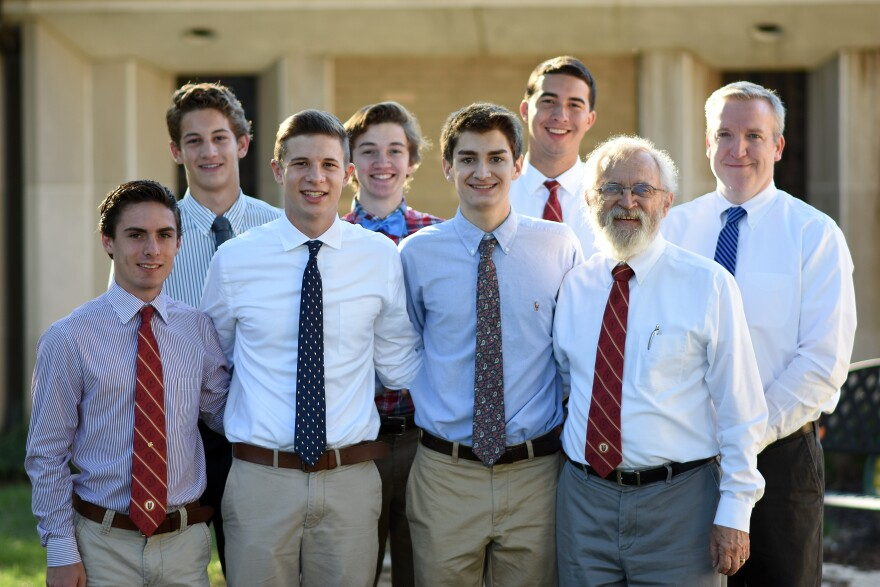A group of De Smet Jesuit High School teachers and students will go to see Pope Francis in Philadelphia. Front row: Sean Higgins, Michael Dunn, Connor Blair, Ken Luecke; Back row:  Michael Arens, Jack Gerbic, Tim Wilmes, Mike Callahan