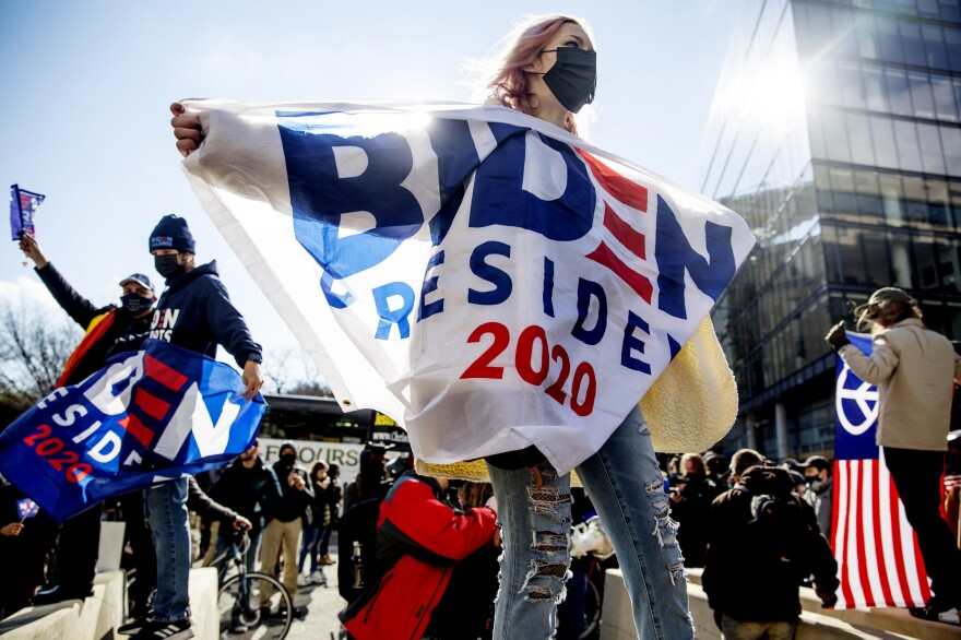 Kiersten Vicknair, 20, from Dallas, celebrates on Inauguration Day with a small crowd gathered in Washington, D.C.