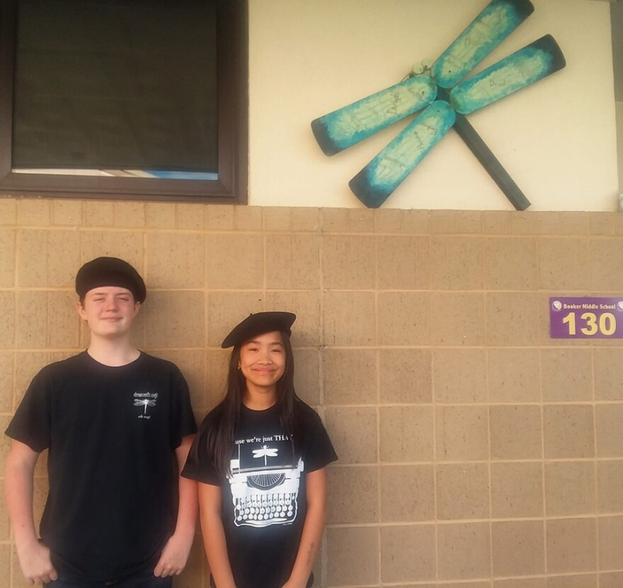 Booker Middle School students, Lucian Christinzio and Annabelle Truong.