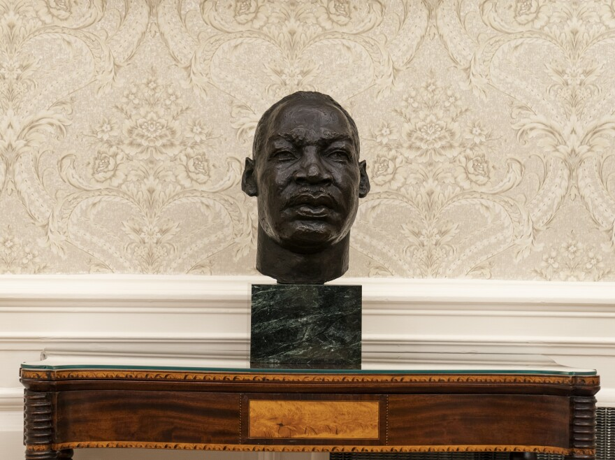 A bust of the Rev. Dr. Martin Luther King Jr. in the Oval Office. Former President Trump also displayed a bust of King.
