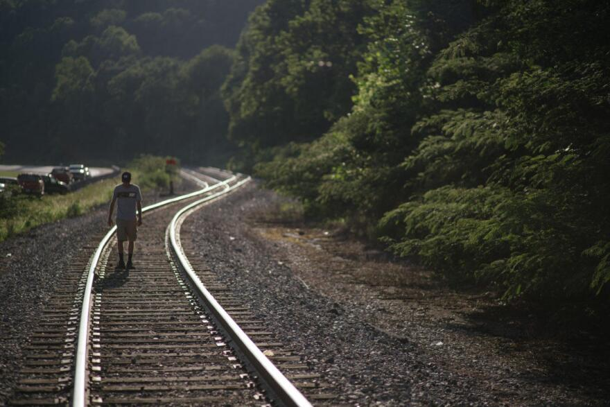 A man on the train tracks. Near the scene of the miners' protest in Harlan Co., KY.