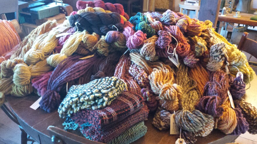 Yarn spun and died by Laura Krugh