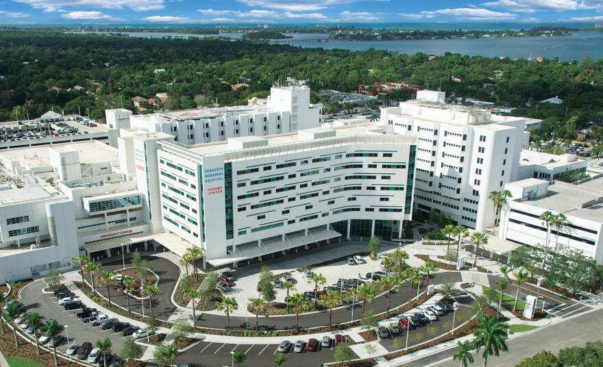 an aerial shot of Sarasota Memorial Hospital