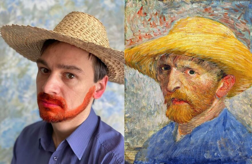 Dmitry Dolgorukov poses for a re-creation of a self-portrait by Vincent Van Gogh.
