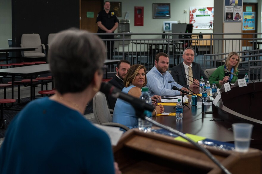 Candidates for the Parkway School Board listen to a question during a candidate forum Monday, March 12, 2018, at Parkway Central Middle School.