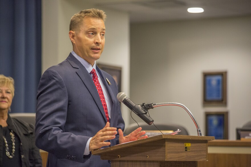 Hillsborough County School Superintendent Jeff Eakins stands at a podium.