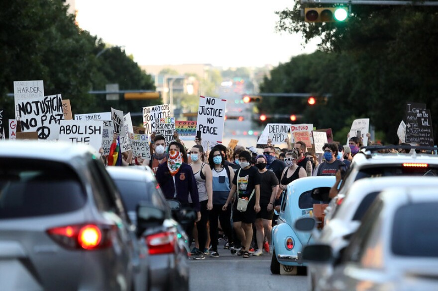 People in Austin protest racism and police brutality.