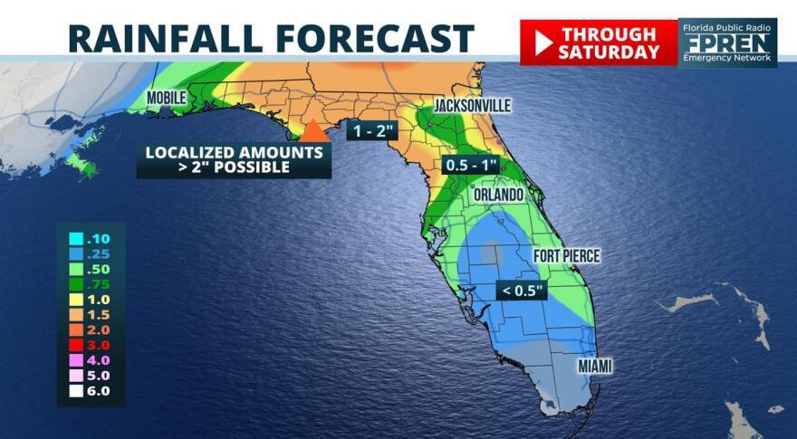Map shows rainfall forecast for Florida