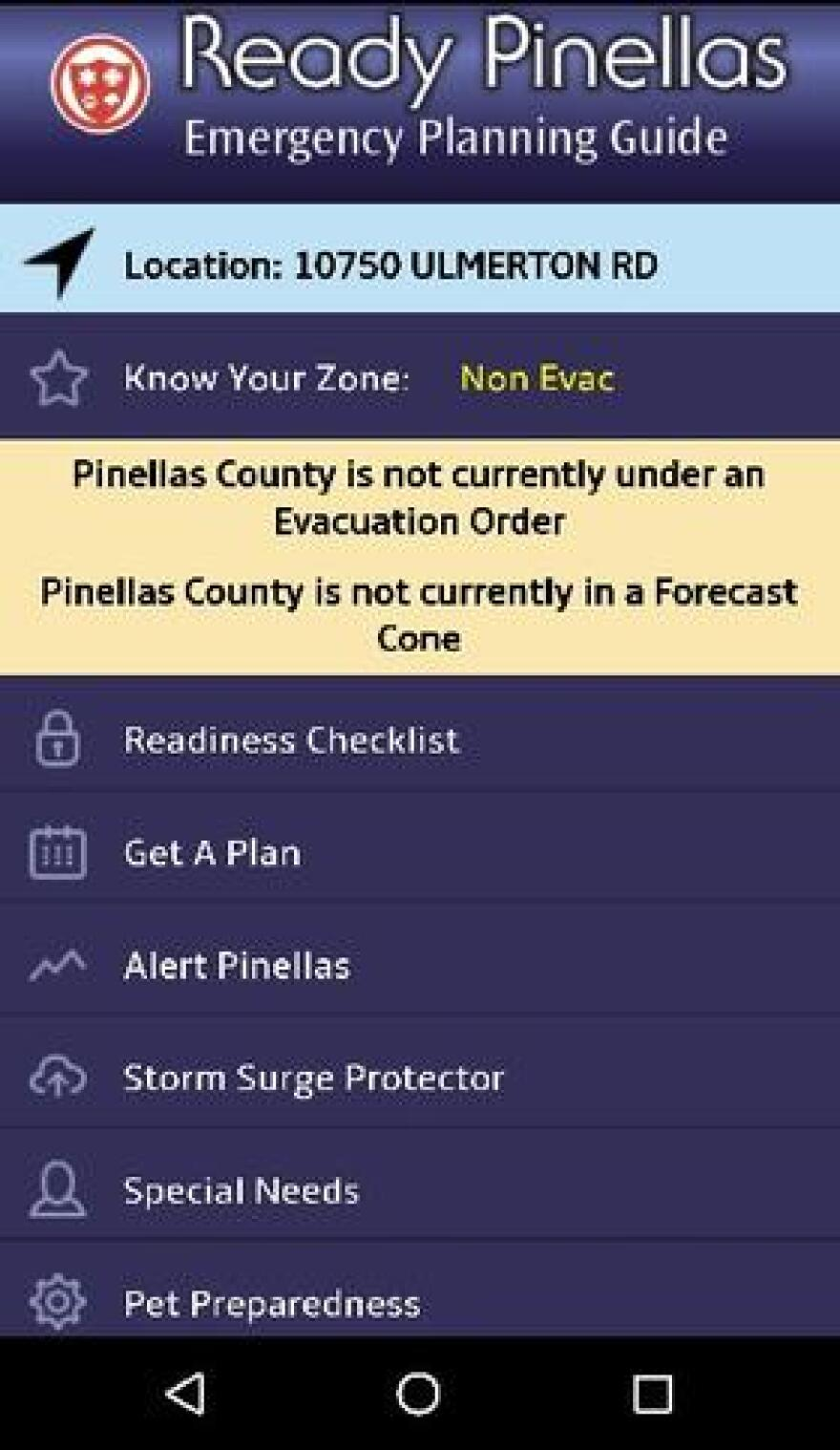 "The new ""Ready Pinellas"" app helps Pinellas County residents prepare for hurricane season and shows location-based evacuation information."